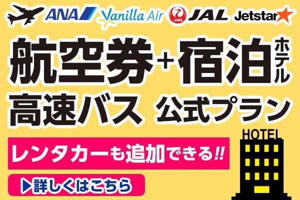 航空券 高速バス+宿泊公式プラン(レンタカーも追加できる!!)