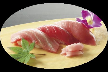 大月町本鮪の握り寿司(本鮪とろ、中とろ、赤身)