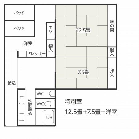 特別室 12.5畳+7.5畳+洋室 間取り図