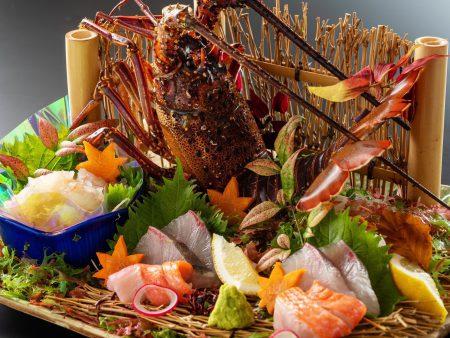 【御造り】この時期しか味わえない地物伊勢海老の新鮮なお造り。ほんのり甘くぷりっぷりの食感が堪らない。