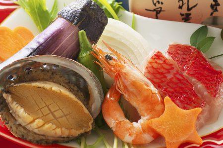 松肴「金目鯛と鮑と海老のグリル」