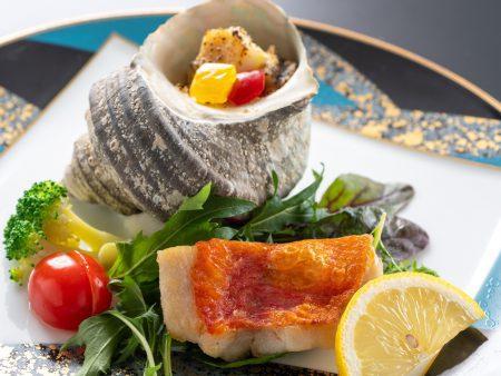 金目鯛ローストとサザエの豆乳グラタン