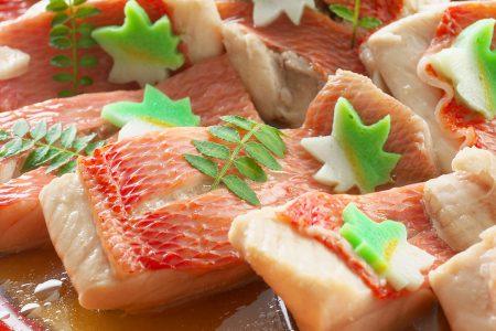 祝い魚の金目鯛と季節野菜の炊き合せ