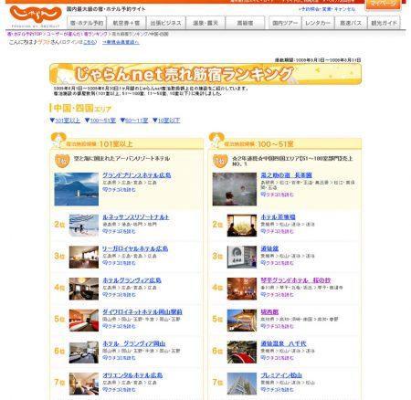 じゃらんNet、売れ筋宿ランキングにて中国四国地区第5位(51室~100室規模)にランクインされました。