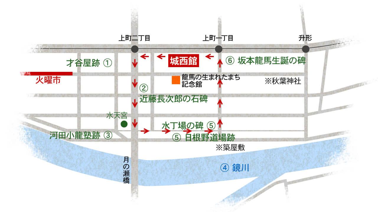 高知県高知市上町 ホテル 城西館/龍馬・幕末の志士ゆかりの地 案内